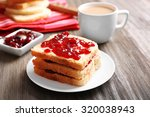 bread with butter and homemade...   Shutterstock . vector #320038943