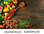 heap of fruits and vegetables... | Shutterstock . vector #320039153