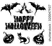 happy halloween  set icons ... | Shutterstock .eps vector #320047937