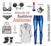 watercolor autumn classic... | Shutterstock . vector #320055497