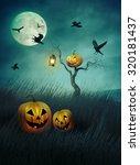 pumpkin scarecrow in fields of... | Shutterstock . vector #320181437