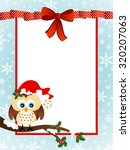 cute owl christmas greeting card | Shutterstock .eps vector #320207063