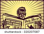 vintage man reading tabloid... | Shutterstock .eps vector #320207087