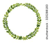 green leaf watercolor wreath | Shutterstock . vector #320288183