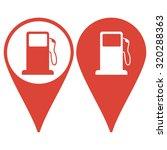 map pointer. gasoline pump...