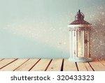 White Wooden Vintage Lantern...