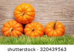 Pumpkins On Green Grass Over...
