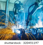 welding robots movement in a... | Shutterstock . vector #320451197