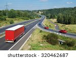 asphalt highway with red truck... | Shutterstock . vector #320462687