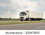 one of white truck on highway ... | Shutterstock . vector #32047855