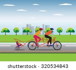 father and mother biking with... | Shutterstock . vector #320534843