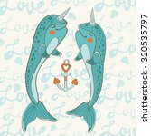 couple of narwhals in love.... | Shutterstock .eps vector #320535797