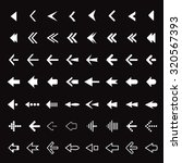 Set of White vector Arrows. Collection of Icons.