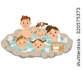 a family and hot spring | Shutterstock .eps vector #320575373