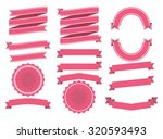 flat style ribbon set in pink