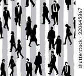 hand drawn crowd people pattern ... | Shutterstock .eps vector #320645867