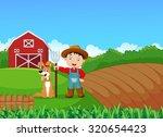 cartoon little farmer and his...
