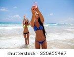 two happy sexy girls selfie... | Shutterstock . vector #320655467