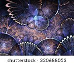 blue and gold fractal flowers ... | Shutterstock . vector #320688053