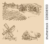 Rural Landscape. Hand Drawn...