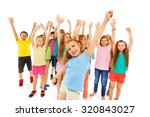 little girl and group of kids... | Shutterstock . vector #320843027