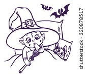 Funny Cartoon Little Witch And...