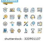 flat line icons set of e...
