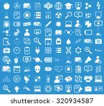 science icon set  simple white...