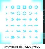 neon blue arrow icon set. 36...