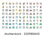 flat line colorful icons... | Shutterstock .eps vector #320980643