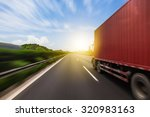 truck on a fast express road ... | Shutterstock . vector #320983163