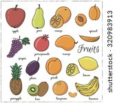 hand drawn doodle fruits with... | Shutterstock .eps vector #320983913