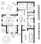 black and white floor plan of a ... | Shutterstock .eps vector #320989607