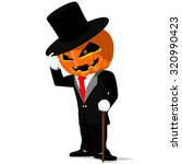 Pumpkin In Black Tuxedo On...