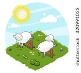 two sheep jumping crossover... | Shutterstock .eps vector #320991023