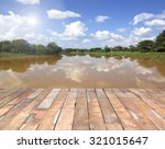 Wooden Deck Outside Red River.