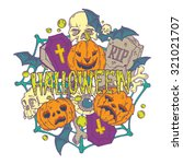 halloween card with pumpkins... | Shutterstock .eps vector #321021707