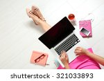 top view of young woman sitting ... | Shutterstock . vector #321033893