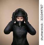 Girl Motorcyclist In A Black...