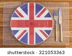 dinner plate with the flag of...