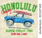 surf car retro vector print. | Shutterstock .eps vector #321107183