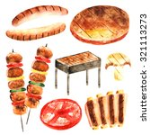 watercolor barbeque food... | Shutterstock . vector #321113273