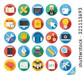 round flat icons set with long...
