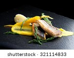 fine dining seabass fillets on... | Shutterstock . vector #321114833
