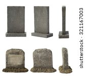 Set Of Tombstone Isolated On...