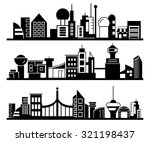 set of silhouette cityscapes ... | Shutterstock .eps vector #321198437