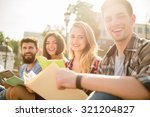 young people  students walk... | Shutterstock . vector #321204827
