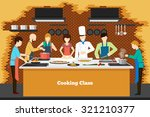 cooking class in kitchen.... | Shutterstock .eps vector #321210377