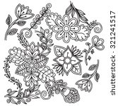 white and black doodle floral... | Shutterstock .eps vector #321241517