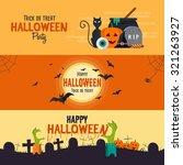 happy halloween banners. set of ... | Shutterstock .eps vector #321263927